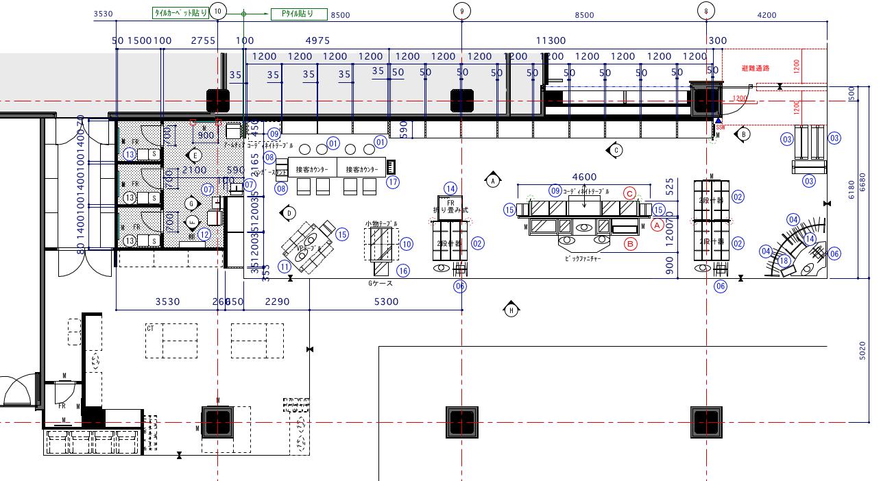 メンズロープライススーツ売場の平面図2
