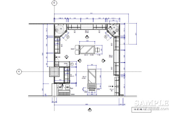 アウトドアショップ_造作什器を中心に構成された平面プランと関連図