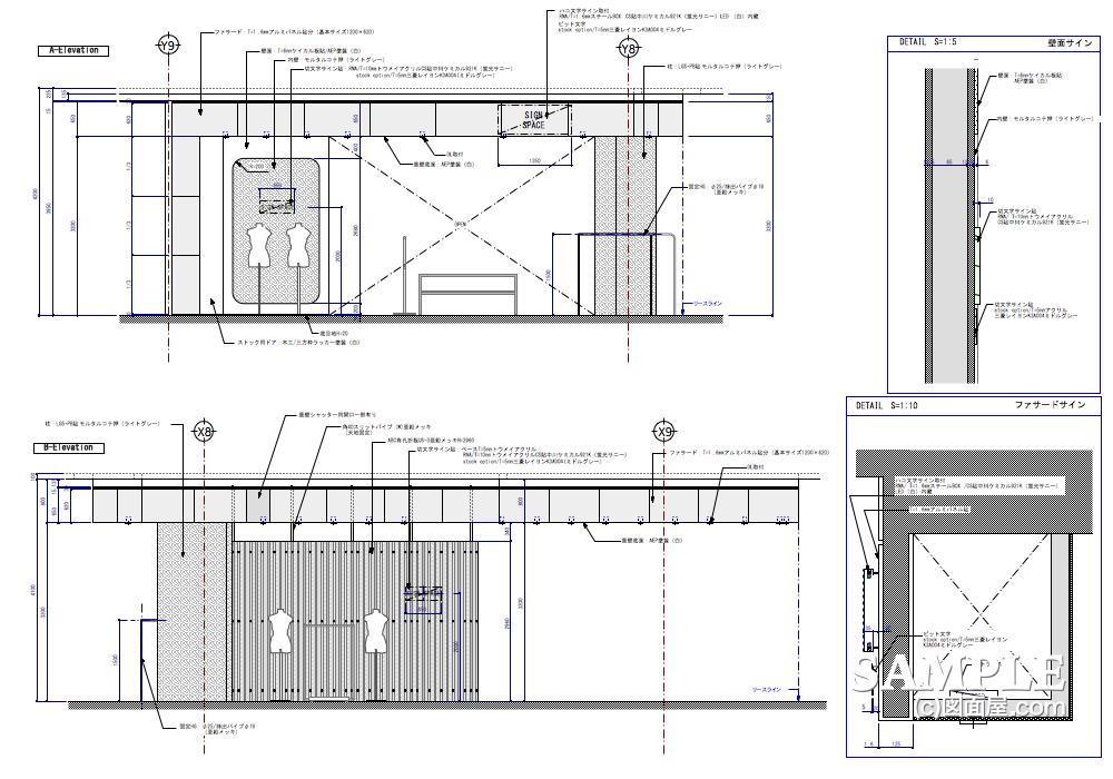 ハードタッチなデザインが冴えるレディースショップの展開図1