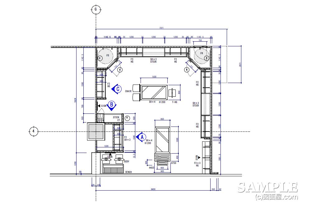 壁面造作什器の位置を示したキープラン