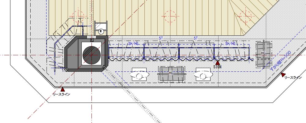 レディースカジュアルショップ002のディスプレイゾーン拡大平面図