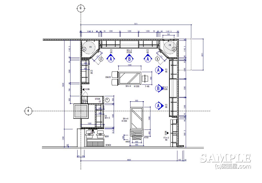 壁面造作でのシステム什器の姿図と詳細図のキープラン