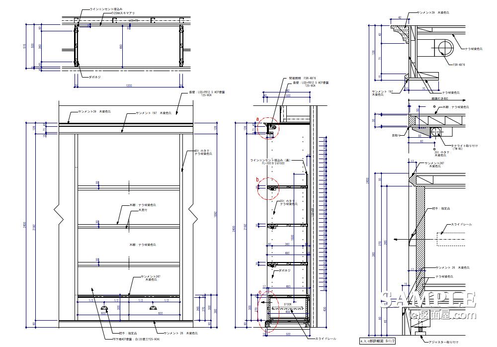 アウトドアショップ_壁面システム什器の姿図と詳細図 | 図面屋.com 店舗設計資料集