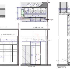 ストックルームと引き戸の断面図