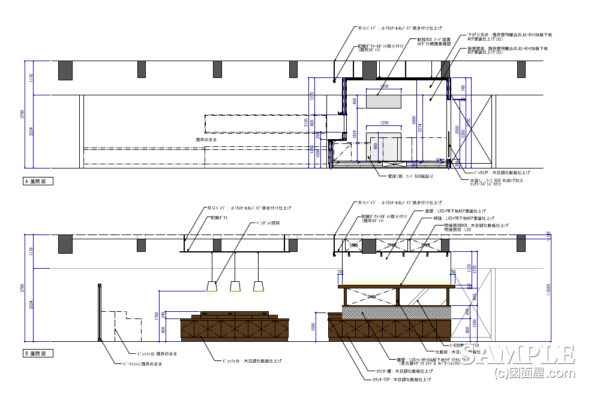 ビュッフェスタイルのダイニングカフェ_改装物件の展開図事例