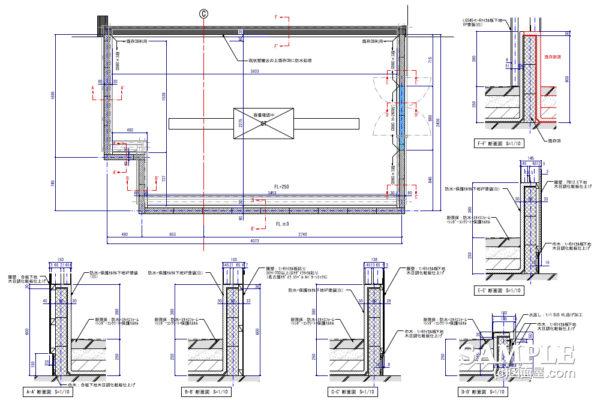 ビュッフェスタイルのダイニングカフェ_厨房区画図と各断面図