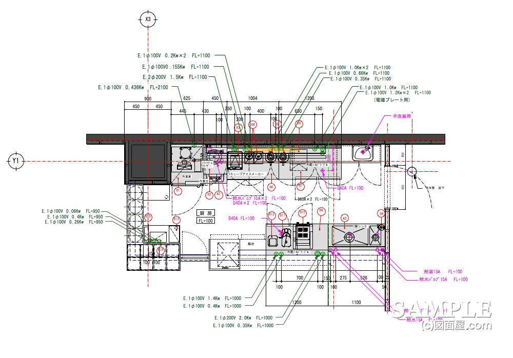 コーヒー専門店の厨房機器図面