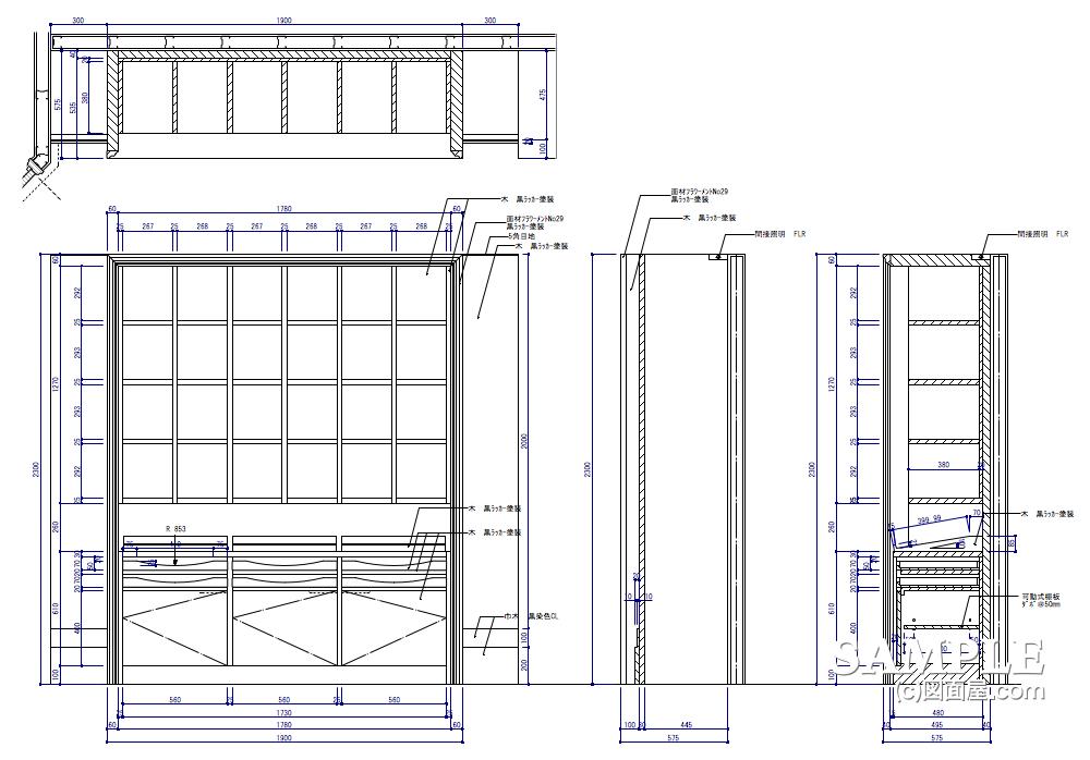 壁面シャツボックス什器の姿図と断面図