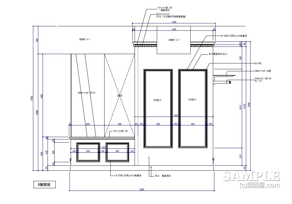 柱巻きディスプレーエリアの展開図2