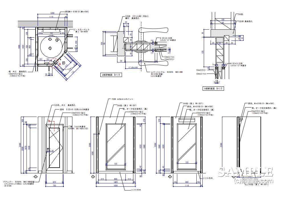 フィッティングルーム造作図の内外観図と建具詳細図