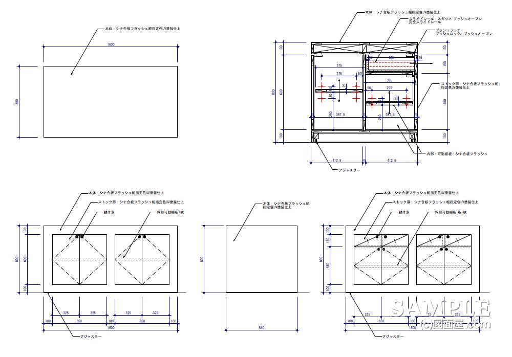 アイランド型ディスプレイ什器の姿図と断面図