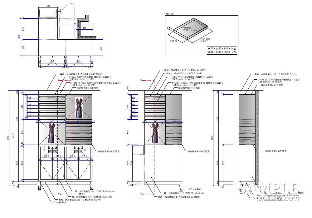 服飾雑貨セレクトショップのストールディスプレー什器の外観図