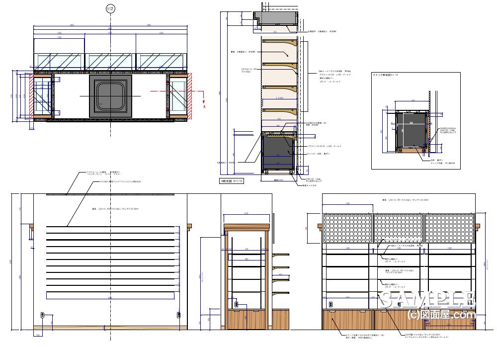 ライフスタイルショップの柱廻り詳細図1