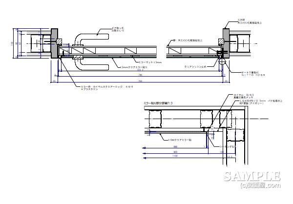 ライフスタイルショップの造作フィッティングルームの詳細図