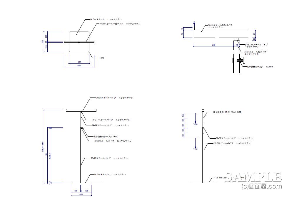 小さなスペースにも設置できるTハンガーラックの姿図