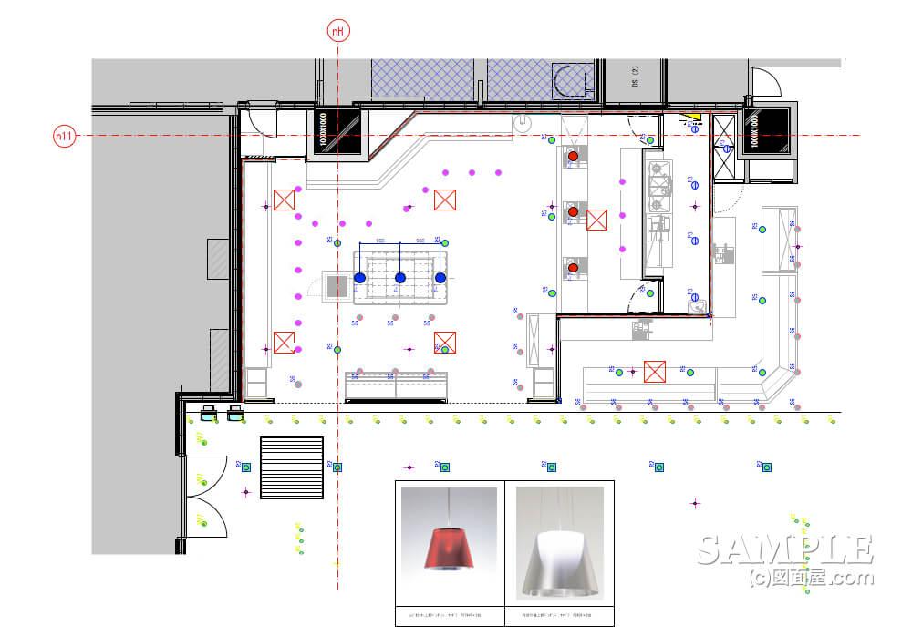 デパ地下のおしゃれなベーカリーショップの天井伏せ図