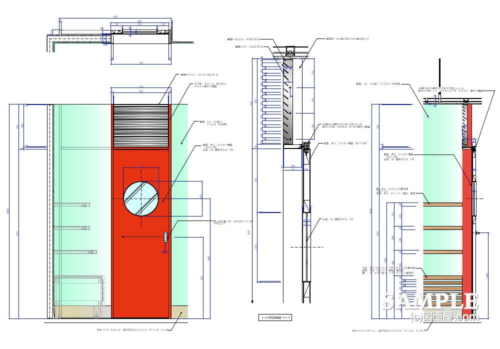 デパ地下のおしゃれなベーカリーショップの建具図1