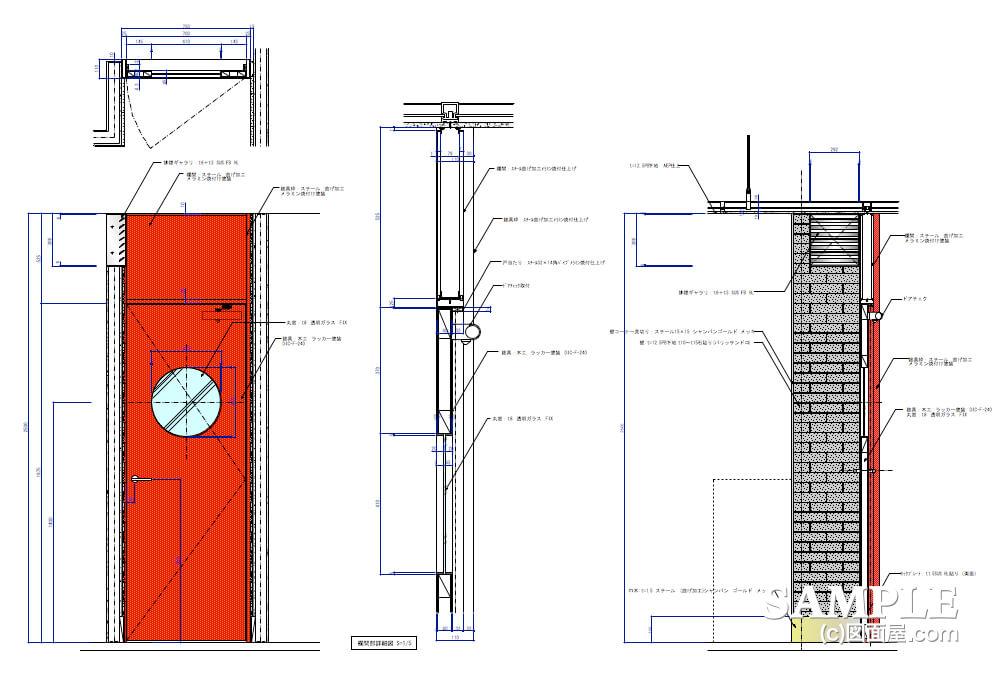デパ地下のおしゃれなベーカリーショップの建具図2