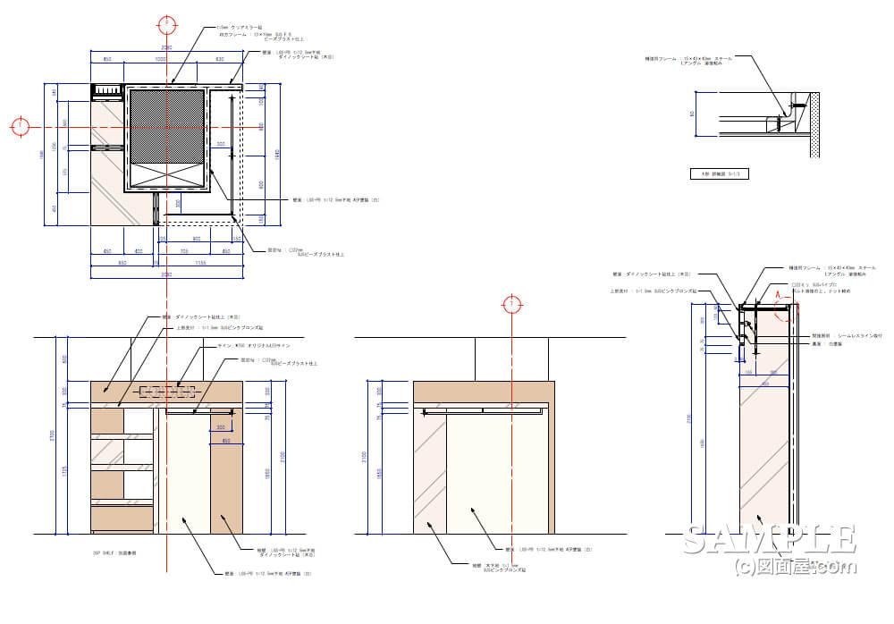 洗練された空間で女性の心をつかむレディースショップの柱巻き詳細図2