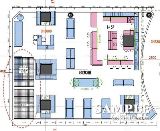 和食器売り場のルーバー位置図