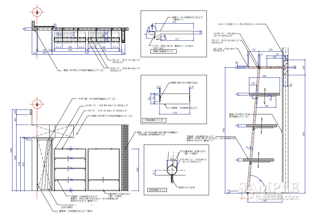 ちょっとハイグレードなレディースカジュアルショップの壁面詳細図3
