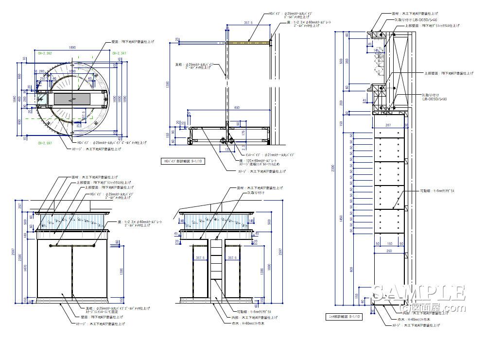 女性目線のキュートなレディースショップの意匠柱造作図2