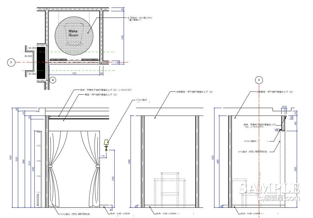 女性目線のキュートなレディースショップのパウダールームの造作図