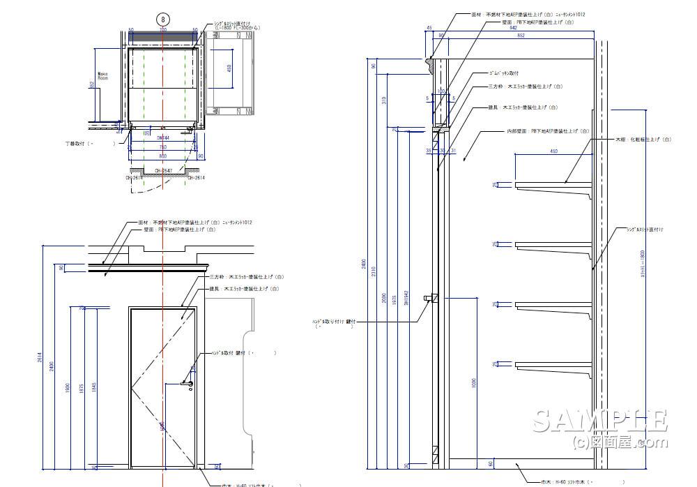 女性目線のキュートなレディースショップのストックルームの建具図