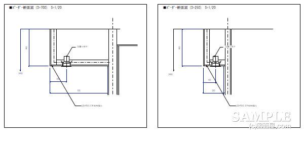 ショッピングセンターのベーカリーショップボーダー詳細図