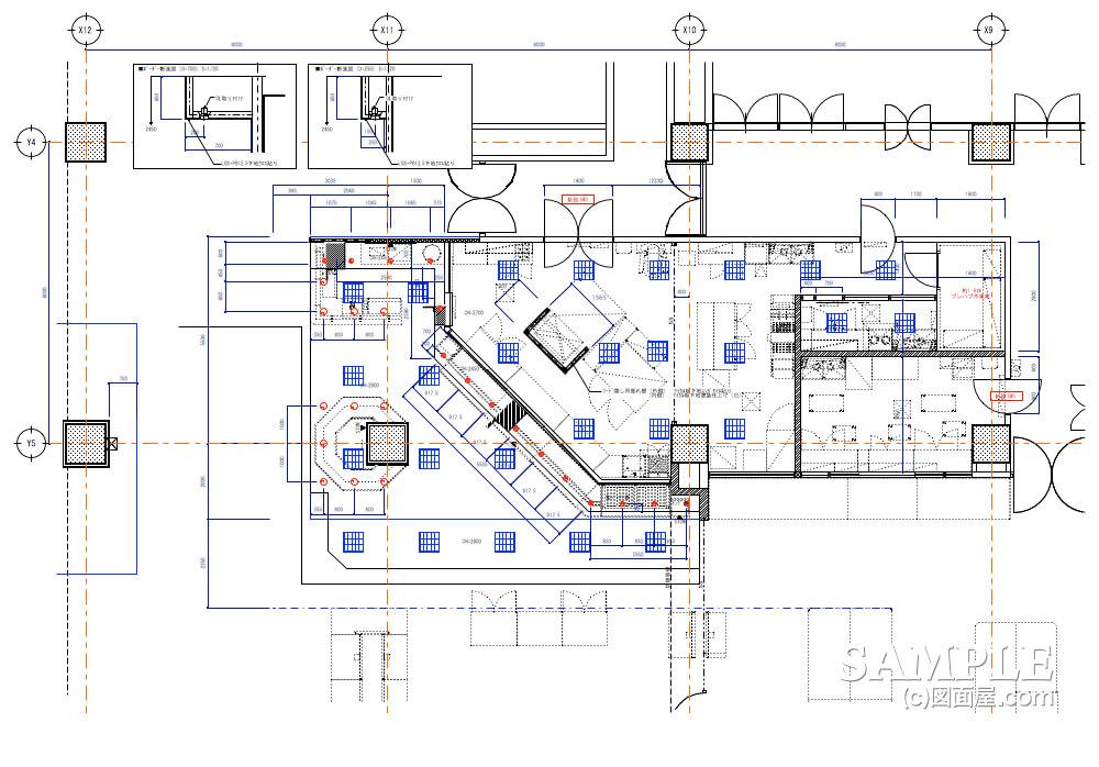 ショッピングセンターのベーカリーショップ天井伏せ図