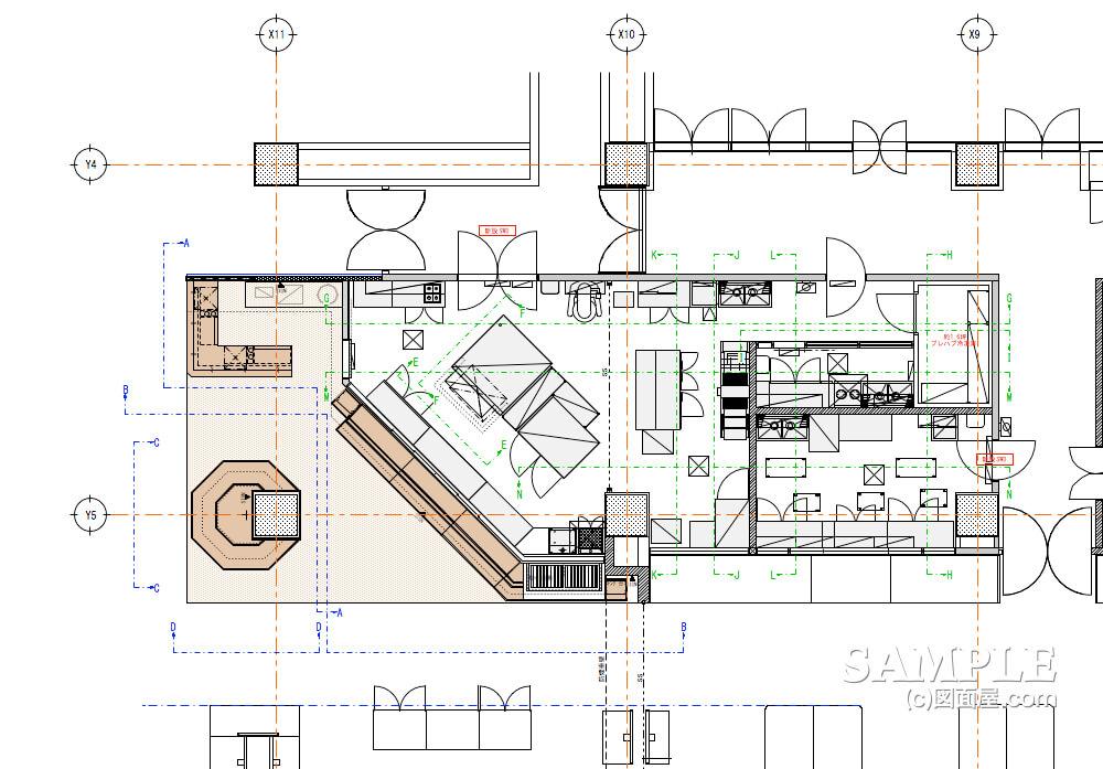 ショッピングセンターのベーカリーショップ展開図のキープラン