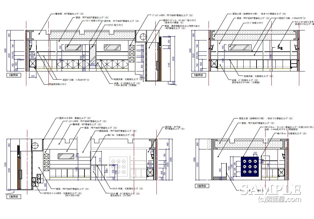 通りに面した2階建てのメガネショップの展開図1