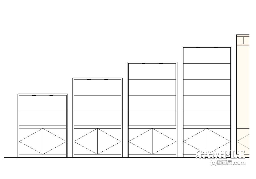 ステーショナリーコーナーの雛壇型オープン棚什器の外観図の別案