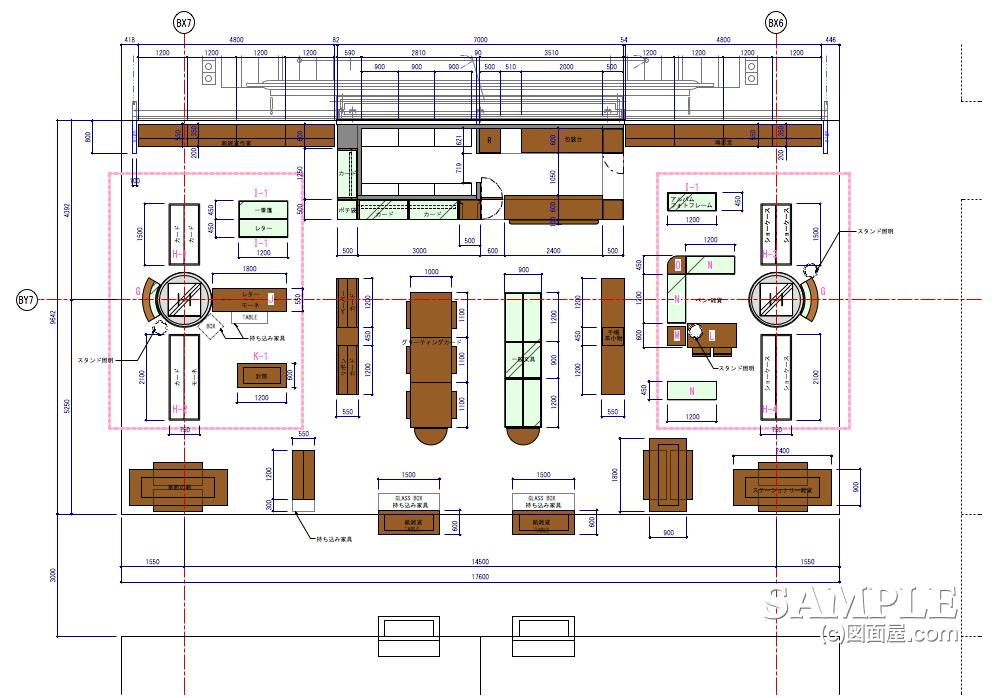 ステーショナリーコーナーの図面事例〈柱廻り〉の平面図