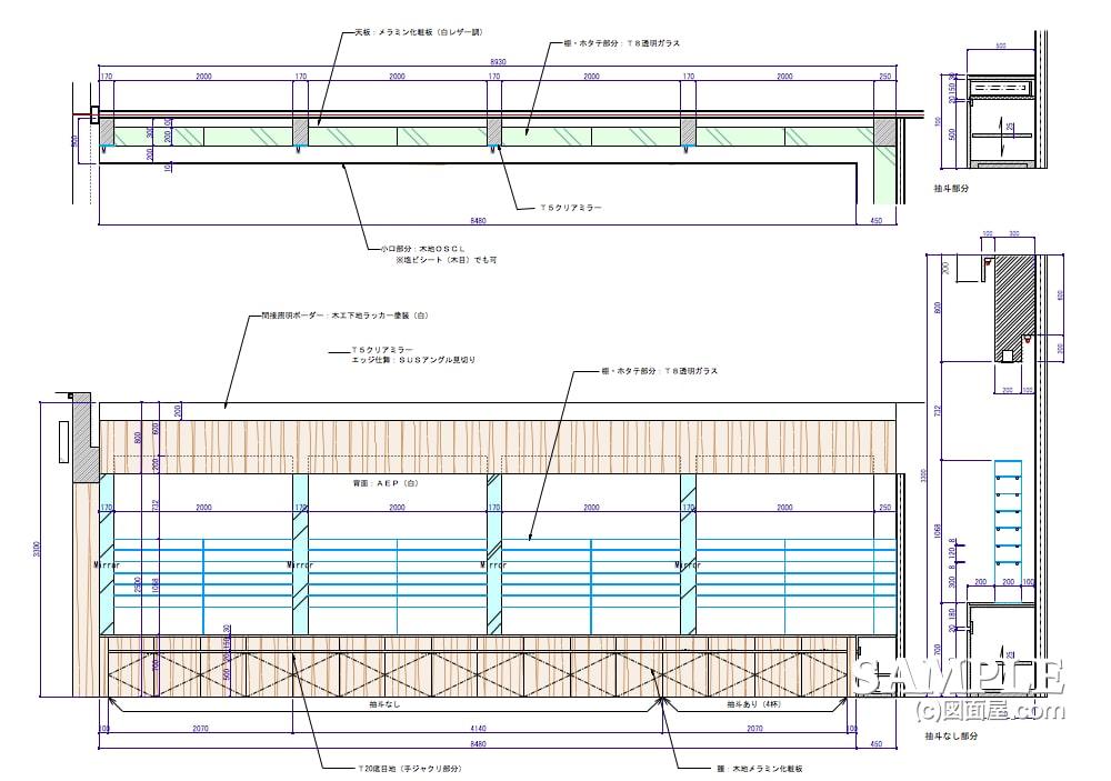 回遊性を高める客導線と作業効率が抜群なメガネショップの壁面什器1