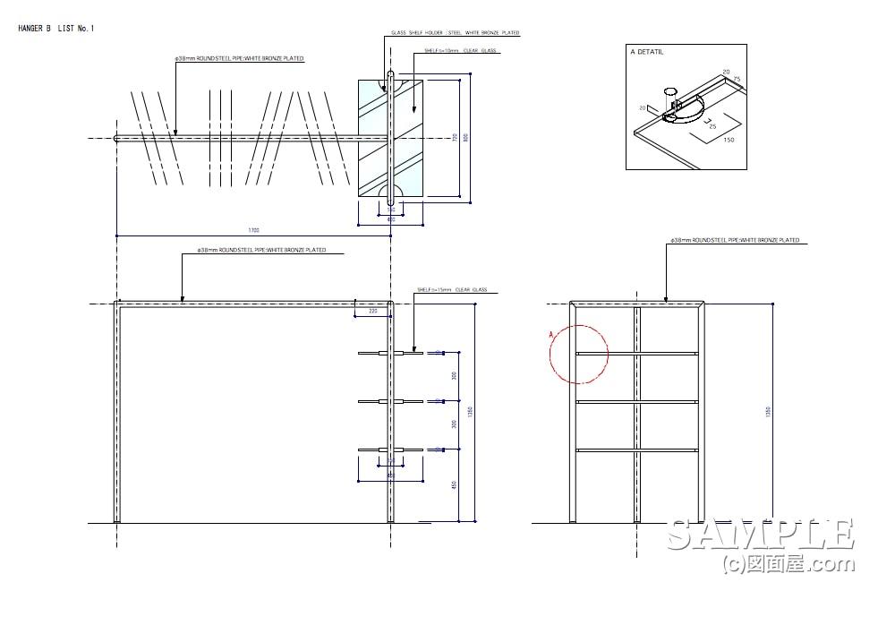 ファミリー向けカジュアルショップのプロトタイプのガラス棚付きシングルハンガーラック