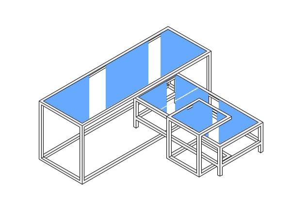 ファミリー向けカジュアルショップのプロトタイプのコーディネートテーブル什器のレイアウト例