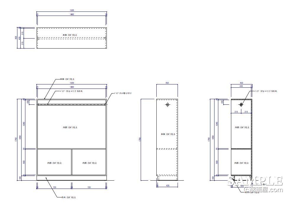 昭和レトロ風な小洒落た大衆食堂の更衣室内クローゼット