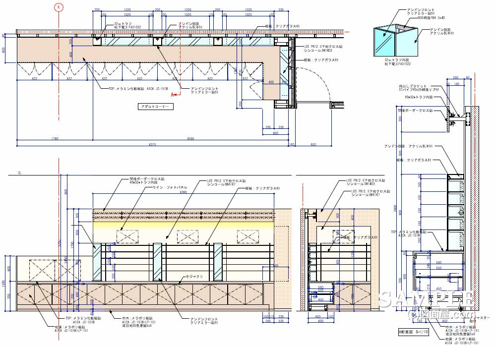 基本的な機能が網羅されたメガネショップの壁面造作詳細図2