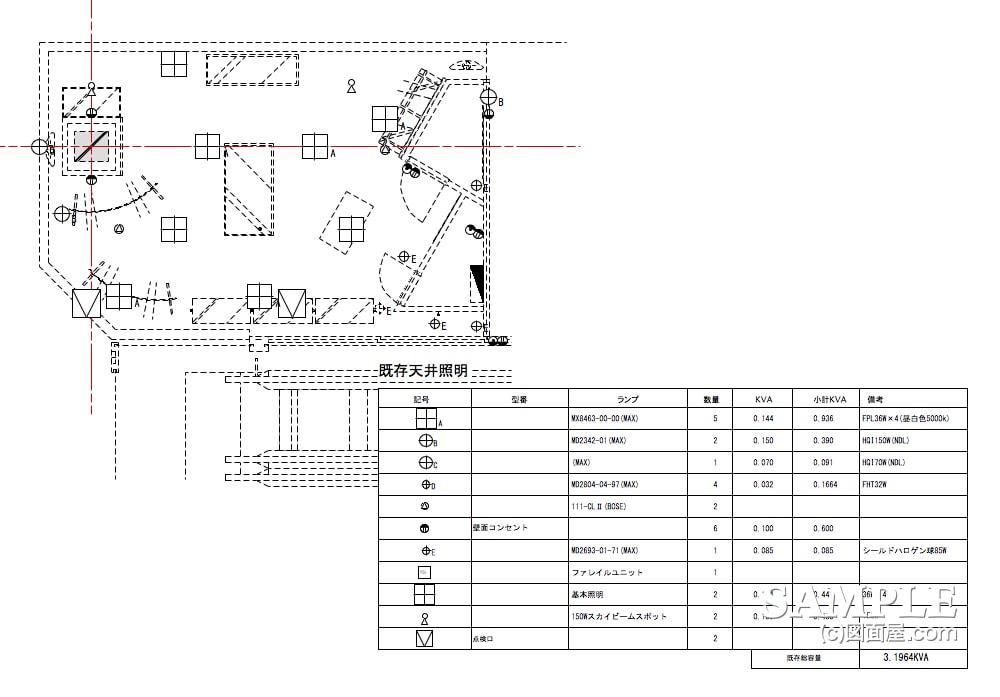 好立地なエスカサイドのメンズカジュアルショップの天井伏せ図