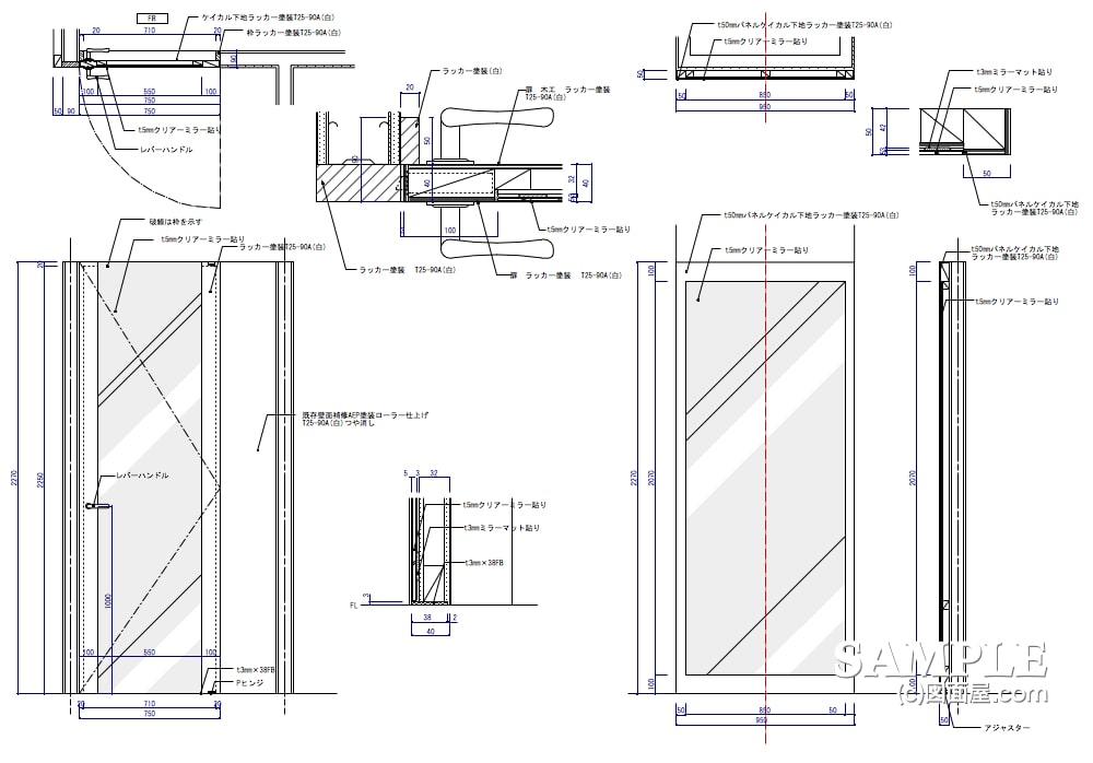 好立地なエスカサイドのメンズカジュアルショップのFR建具図とミラーパネル