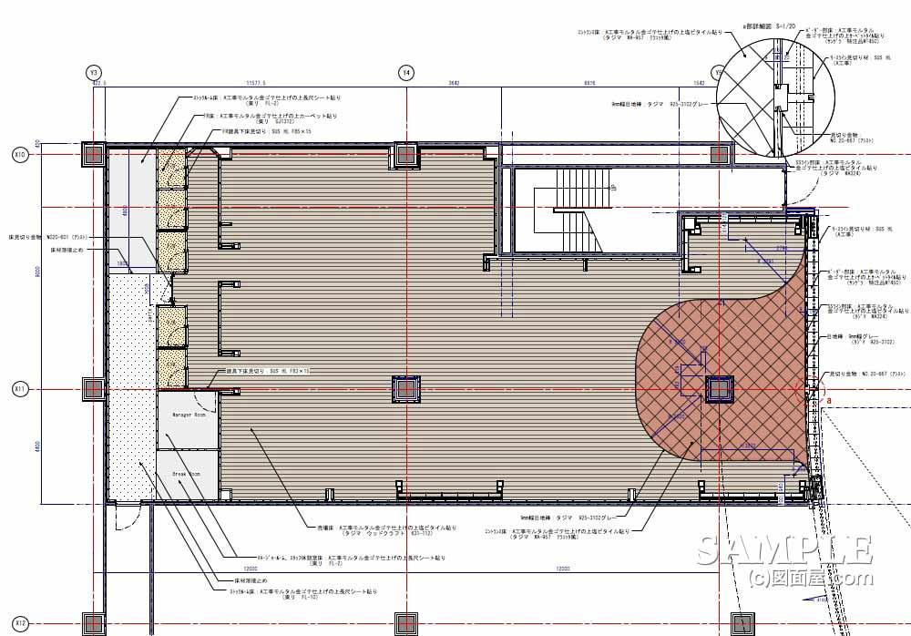 アメリカアウトドアブランド大型ショップの床伏図